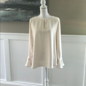 LOFT bell cuff cream blouse
